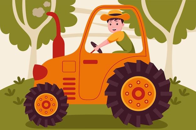 庭でトラクターを運転する幸せな男の農夫。