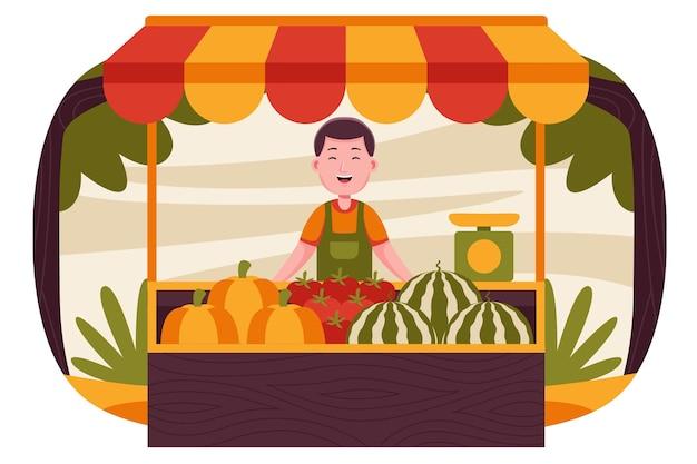 ファーマーズマーケットで果物を売る幸せな男の農夫。