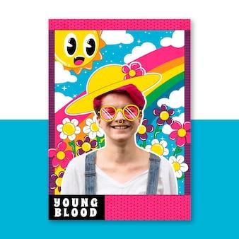 Uomo felice in un campo con poster di fiori emoji