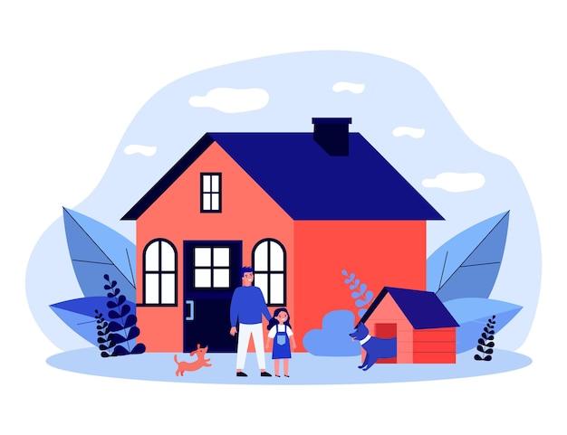 Счастливый человек, девушка и собаки перед домом. задний двор, опекун, питомник плоской иллюстрации. концепция образа жизни и домашних животных для баннера, дизайна веб-сайта или целевой веб-страницы
