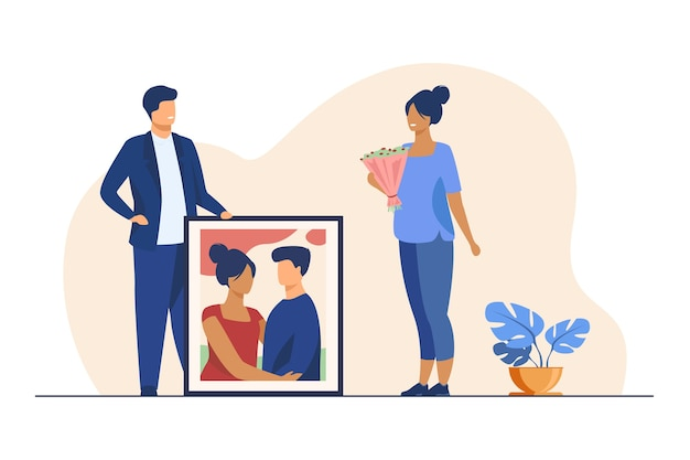 Happy man giving portrait of couple to his girlfriend. artwork, picture, gift flat vector illustration. special date, celebration, event