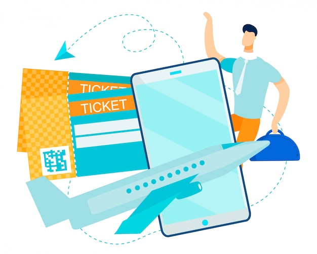 Happy man hipster traveller использует электронный билет для полета