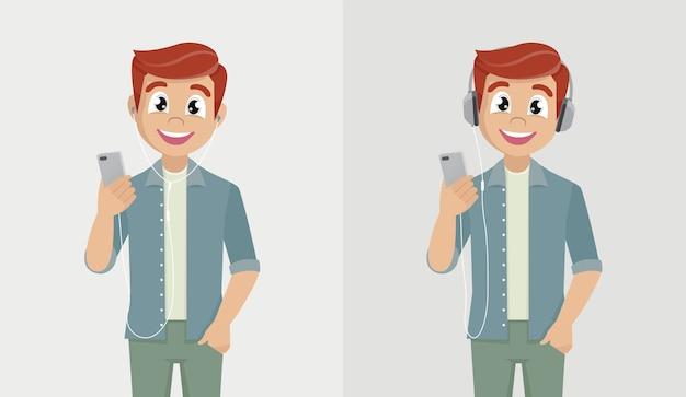 행복한 사람이 전화를 들고 헤드폰으로 음악을 듣고