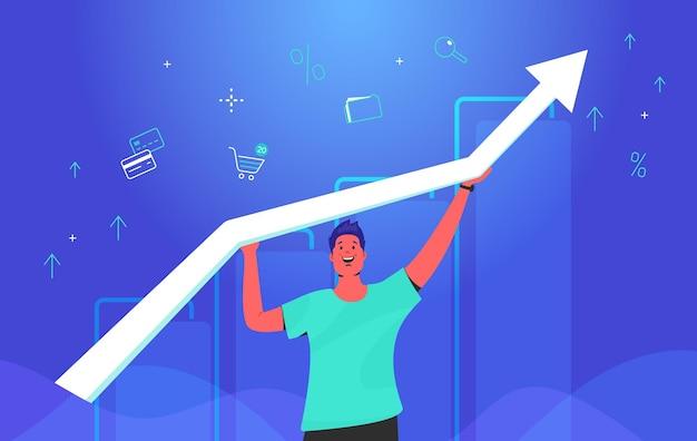 성장 하는 흰색 화살표를 들고 행복 한 사람입니다. 신용 카드, 쇼핑 카트, 비즈니스 폴더의 기호를 투자하는 금융으로 성장하는 그래프를 사용하는 남자의 개념 그라데이션 벡터 그림