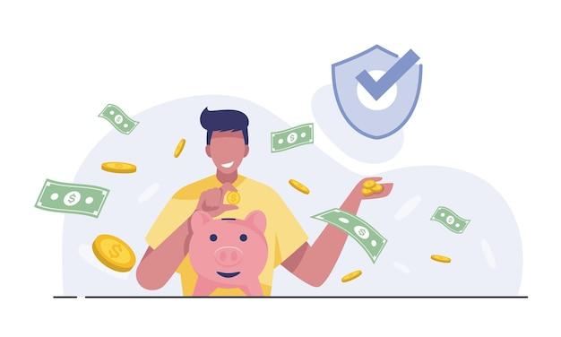 幸せな男は貯金箱を持っています。財政を節約するという概念。