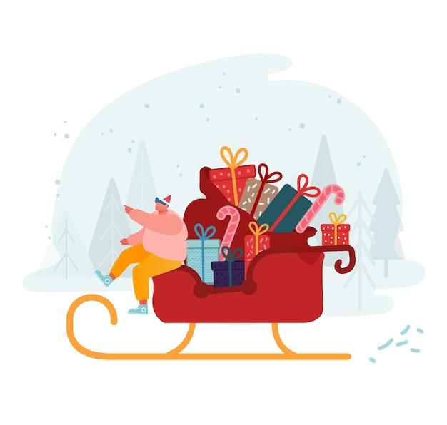 贈り物やお菓子と雪の背景に乗ってトナカイそりに座っているサンタクロースの帽子で幸せな男。冬時間ホリデーシーズン、メリークリスマスのご挨拶。漫画フラット