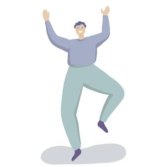 幸せな男が踊っていて、トレンディなフラットベクトルのキャラクターが若いティーンエイジャーの喜びから笑っています...