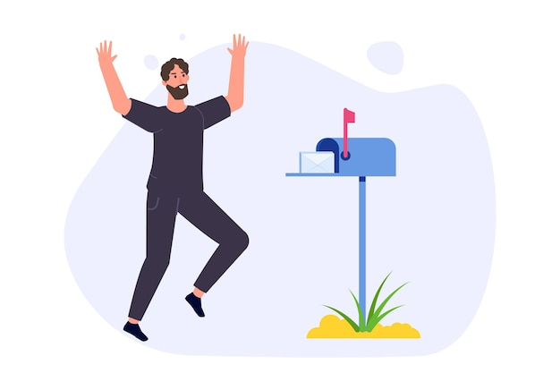 Happy man is standing nearby mailbox and got letter. vector illustration