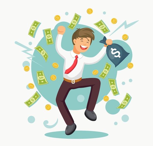 喜びのためにジャンプする幸せな男。実業家はお金の雨の下で成功を祝います。ビジネスマンに現金が落ちる