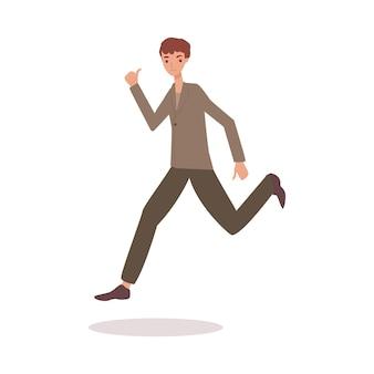 성인 만화 캐릭터를 엄지손가락으로 공중에서 점프하는 행복한 남자