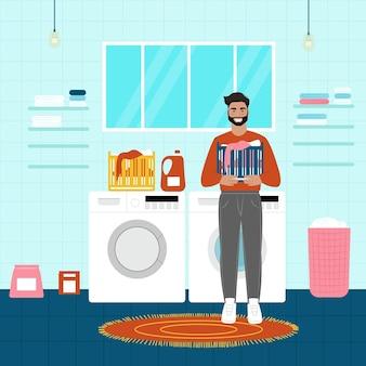 ハッピーマンランドリー。洗う男。フラット漫画スタイルのベクトルイラスト。