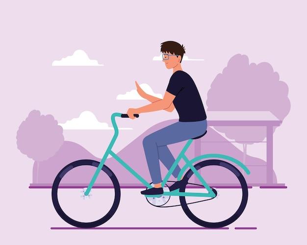 야외 자전거에 행복 한 사람