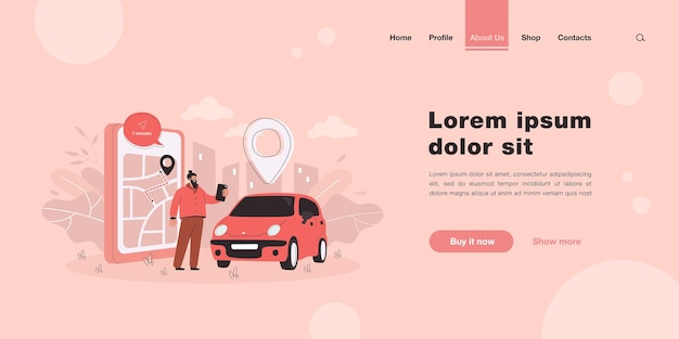Happy man ordering taxi landing page in flat style