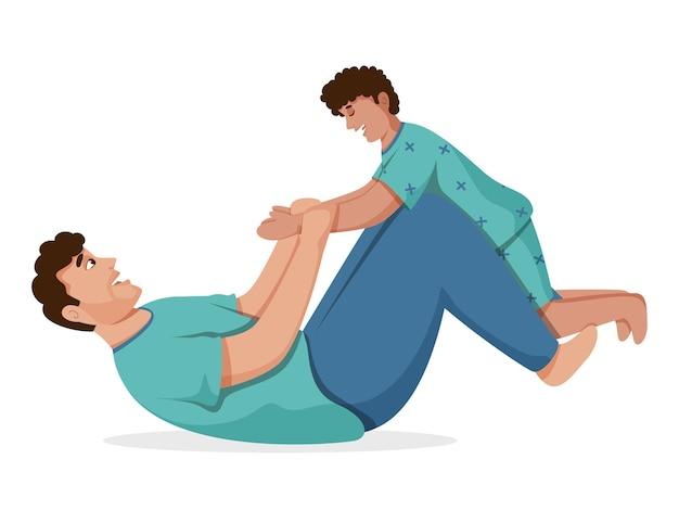 床のイラストで横たわっている間息子と遊ぶ幸せな男。