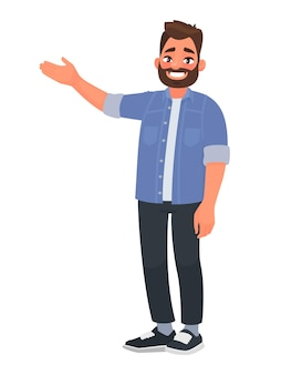 Happy man points to something. character for advertisement. guy shows a direction with a hand. in cartoon style Premium Vector