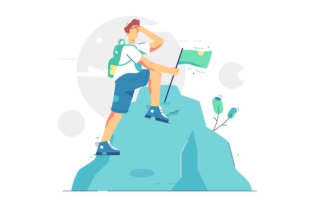 幸せな男が山の頂上に達した。旗フラットスタイルで山頂に立っている男性。達成された使命、成功、モチベーション、キャリアコンセプト。