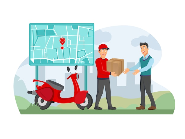 스마트 폰 앱을 사용하여 집에서 배달 상자를 받고 행복 한 사람, 배달 남자는 가방을 들고있다.