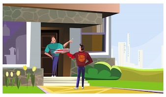 Happy man receiving pizza from delivery guy illustration
