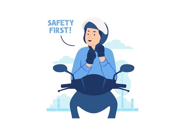 Счастливый человек катается на мотоцикле мотоцикл в шлеме и перчатках, крепящих шлем в городской уличной иллюстрации концепции безопасности