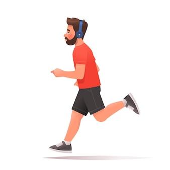 幸せな男は白い背景で実行されます。男はジョギングしながらヘッドフォンで音楽を聴きます。漫画スタイルのベクトル図