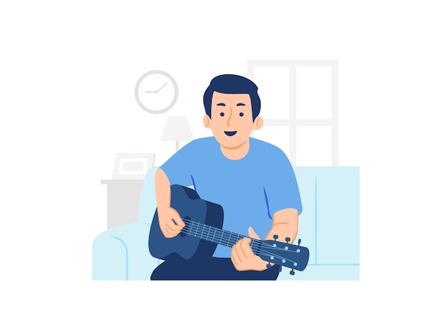 Happy man sitting on sofa and playing guitar in living room at home concept illustration