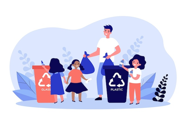 Happy man sorting garbage with cute kids. plastic, children, container flat  illustration. ecology protection and waste disposal concept