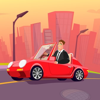 Happy man in suit driving new red car through city