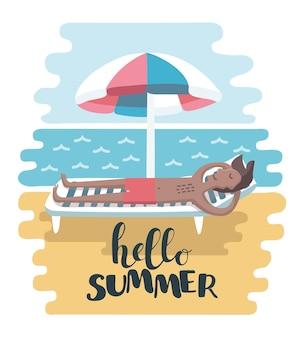 Happy man on summer vacation. hello summer
