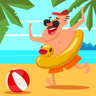Happy man in sunglasses with an inflatable rubber duck and a ball on the beach. cartoon summer illustration.