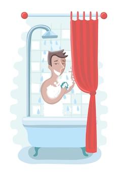 Счастливый человек принимает душ в ванной