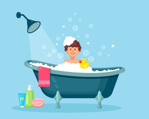 Happy man taking bath in bathroom with rubber duck. wash head, hair, body, skin with shampoo, soap, sponge, water. bathtub full of foam with bubbles. hygiene, everyday routine, relax.