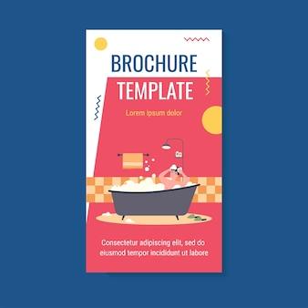 Happy man taking bath in bathtub with foam brochure template