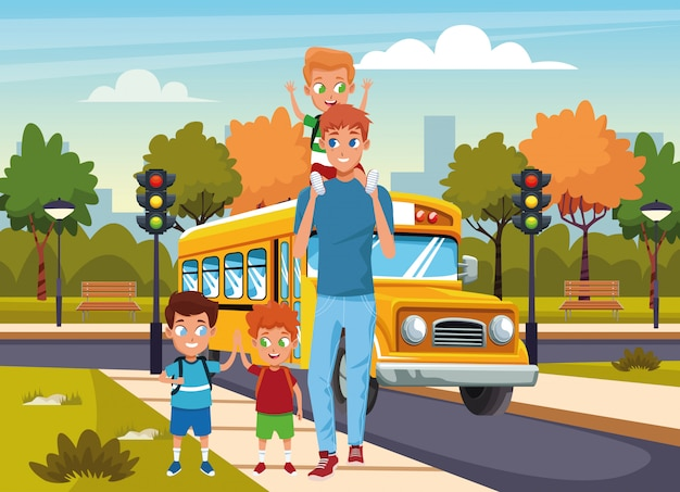 Happy man walking in the stree with boys over school bus and street
