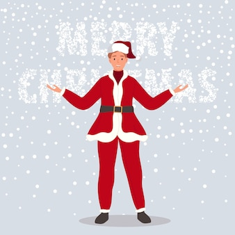 Happy man wearing in santa claus clothes on snow background vector illustration in cartoon style