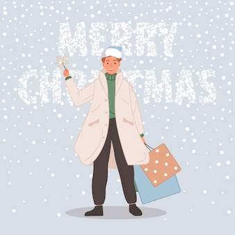 크리스마스 선물을 가진 행복한 남자 남자 눈 배경에 산타 모자를 쓰고 메리 크리스마스 개념