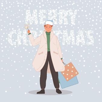 Uomo felice con regali di natale maschio che indossa un cappello da babbo natale sullo sfondo della neve buon natale concept