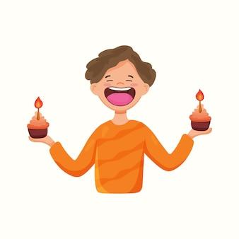 カップケーキと幸せな男。誕生日。フラットスタイルのベクトル図