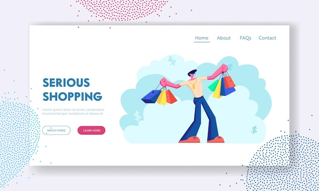 Happy man with shopping bags. buyer have fun doing shopping. seasonal sale, discount, shopaholic with purchases in paper packs. website landing page, web page. cartoon flat vector illustration
