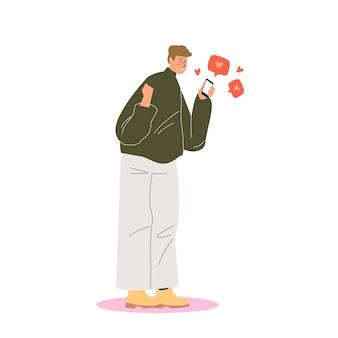 스마트 폰이 소셜 미디어 게시물에서 좋아요와 심장 모양을 얻는 행복한 사람