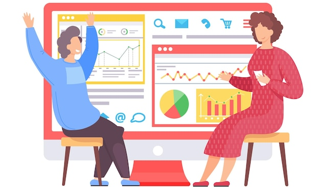 Happy man and woman business team analyze data