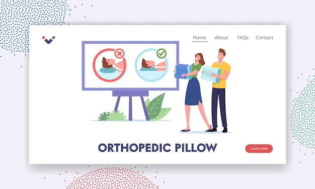 Happy man and woman choose medical orthopedic pillows for comfortable sleep landing page template. couple characters watch promo cushion wrong and correct use. cartoon people vector illustration