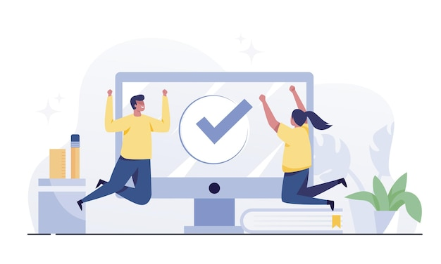 Happy man and woman and desktop with checkmark sign. task completed or finished work concept.