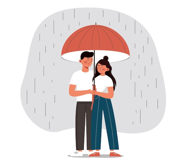 Happy man and woman hide from the rain under an open umbrella young couple embrace each other with love and care concept of the valentine day