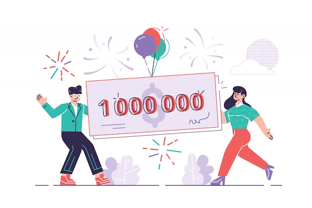 Happy man and woman holding a bank check for a million dollars. lottery gain or grant concept. modern flat style  illustration in cartoon design. winner announcement concept. we have a winner.