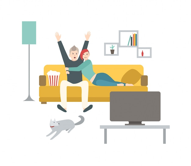 Happy man and woman sitting on comfortable couch, eating popcorn and watching sport game on tv. cute young married couple spending time together at home. flat cartoon colorful   illustration.