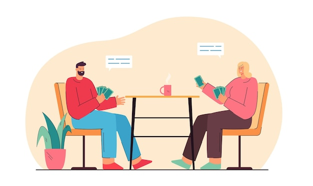Happy man and woman sitting at table and playing cards. couple drinking tea at home, having good time together flat illustration