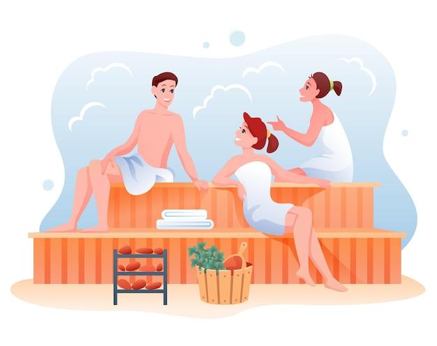 행복한 남자 여자, 스파 이완 절차 및 바디 케어 요법 공중 사우나 목욕탕,