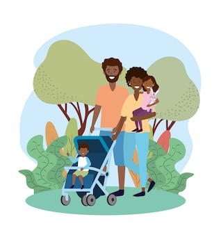 Happy man and woman with their son in the stroller