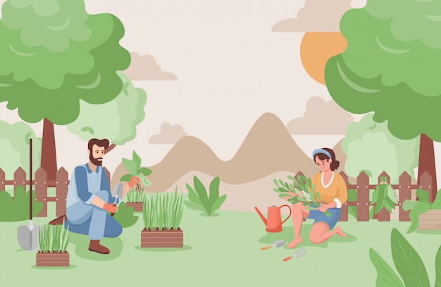 Happy man and woman working in the garden in summer flat illustration. farmers or gardeners planting trees.
