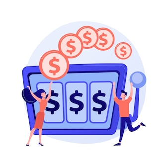 Happy man won jackpot in casino. lucky gambler receiving money prize. risky entertainment. slot machine, one armed bandit, gambling addiction. vector isolated concept metaphor illustration